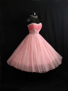 Vintage 1950's 50s STRAPLESS Two Tone PINK Pearls by VintageVortex, $349.99