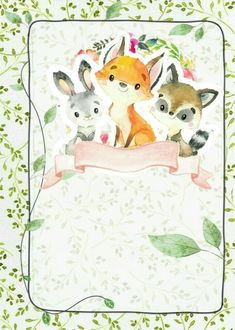 Art Drawings For Kids, Animal Drawings, Forest Animals, Woodland Animals, Image Hd, Baby Posters, Muppet Babies, Flower Background Wallpaper, Baby Art
