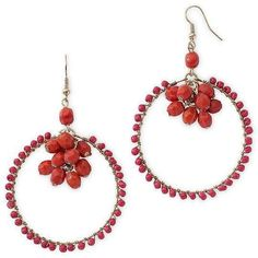Why choose between hoop and cluster earrings when you can have both? Red beads add a pop of passion to these whimsical drop earrings. Metal: Gold-tone metal Stones: Red beads Back: Wire. More Details Cluster Earrings, Hoop Earrings, Burgundy, 100 Followers, Detail, Womens Fashion, Whimsical, Red, Stones