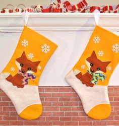 Fox Christmas Stocking in Yellow by Allenbrite Studio -- Zigzag Scarf Variation