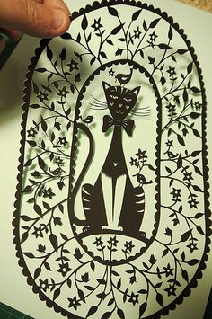 Cat with Birds papercut | Flickr - Photo Sharing!