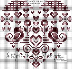 Cross Stitch Pattern birds in heart