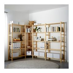 IVAR 4 sections/angle IKEA Bois massif brut, un matériau naturel et solide à cirer ou huiler pour accroître sa résistance et faciliter son nettoyage.
