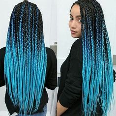 black to blue ombre braids for African American girls