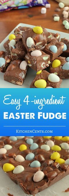 Rich chocolate fudge filled with colorful mini marshmallows and Cadbury Mini Eggs. An easy Easter fudge that only takes 5 minutes to make! Desserts For A Crowd, Köstliche Desserts, Dessert Recipes, 5 Minute Desserts, Flourless Desserts, Dinner Recipes, Dessert Bars, Brunch Recipes, Appetizer Recipes