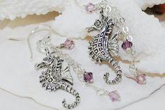 Silver Seahorse Earrings Swarovski Crystal by ornatetreasures, $26.00
