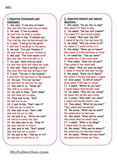 Reported Speech worksheet - Free ESL printable worksheets made by teachers English Grammar Exercises, English Grammar Rules, Teaching English Grammar, English Grammar Worksheets, English Writing Skills, Grammar Lessons, English Language Learning, English Vocabulary Words, English Phrases
