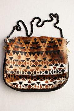 Ampersand As Apostrophe, Aztec Bag. accessories, purse, clutch, deer, hide, printed, leather.