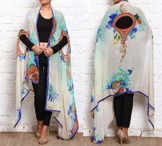 Beige #Printed #Georgette #Draped #Tunic Kimono Duster, Kimono Top, Fashion Essentials, Ethnic Fashion, Designer Wear, Fashion Brands, Branding Design, Tunic, Indian