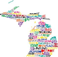 24x24 MICHIGAN Digital Illustration Print of Michigan State with Cities Map. $45.00, via Etsy.