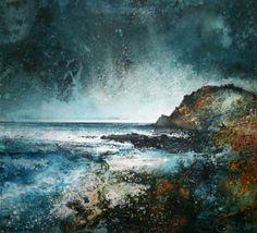 'Prawle Point' Acrylic on Paper 48 x 48 cm Impressionist Landscape, Watercolor Landscape, Landscape Art, Landscape Paintings, Watercolor Art, Abstract Nature, Seascape Paintings, Contemporary Landscape, Ocean Art