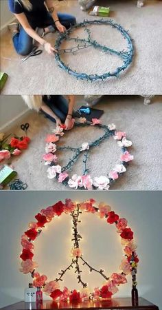 Hoola hoop, xmas lights, and fake flowers= qt deco for my daughters room....love it!