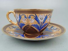 Antique Tiffany Reed & Co. Tea Cup & Saucer Blue Enamel Heavy Gilding Aesthetic