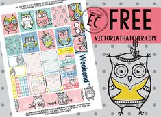 Free Owl You Need Is Love Planner Stickers from Victoria Thatcher Free Planner, Happy Planner, Planner Layout, Planner Ideas, Victoria Thatcher, Perfect Planner, Doodle Lettering, Printable Planner Stickers, Free Printables