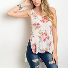 Ships Friday! Hi lo floral crochet back top! Available in S-M-L Tops Tank Tops