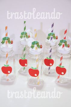 The Very Hungry Caterpillar Milk Bottles -  Party Birthday caterpillar bottle very hungry caterpillar theme on Etsy, $1.60