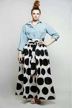 Like this outfit a lot. JIBRI Plus Size High Waist Polka Dot Maxi Skirt (attached wrap belt) Curvy Girl Fashion, Look Fashion, Plus Size Fashion, High Fashion, Fall Fashion, Look Plus Size, Plus Size Women, Ethno Style, Mode Plus