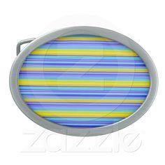 Summer Sky Belt Buckle from Zazzle.com    summer, warm, cyan, yellow, retro, lines, horizontal, abstract, elegant, modern