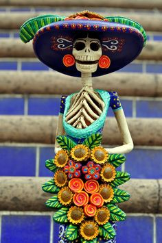 Catrina, Día de los Muertos Day of the Dead Mexican Art available… Samhain, Art Chicano, All Souls Day, Mexican Holiday, Day Of The Dead Art, Mexico Art, Sculptures Céramiques, All Saints Day, Mexican Folk Art