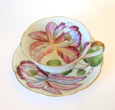 Vintage Hand Painted Royal Sealy Teacup and Saucer - Pink/Purple Lilies with Gold - Mid Century - Japan via Etsy