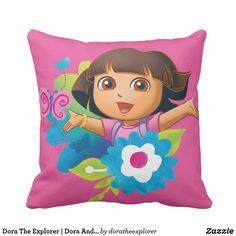 Dora The Explorer | Dora And Butterflies. Producto disponible en tienda Zazzle. Decoración para el hogar. Product available in Zazzle store. Home decoration. Regalos, Gifts. #cojín #pillows