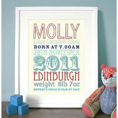This bright and fun art print makes a wonderful gift. Personalised as shown to include those very special details of birth and recording the vital statistics of a new life. A lovely modern birth sampler!  We can work with almost any length of name and we are happy to design these prints in a different language or with accents over names etc.  Colours available: pale blue and green, cream and pink, green and red, cream and red  Unframed ...
