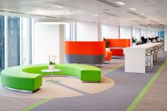 Can't miss the vibrant colours in this superb office environment can you?