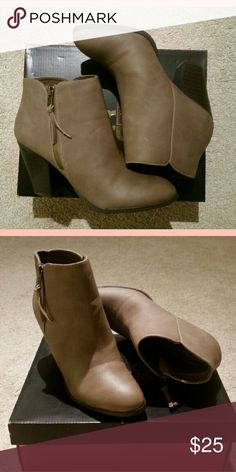 NWB Taupe Heeled Booties fake leather heeled booties, new with box! never worn Charlotte Russe Shoes Ankle Boots & Booties