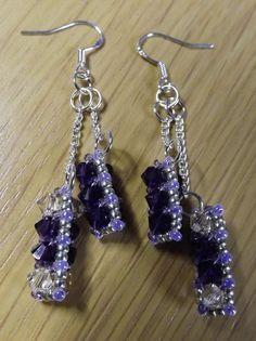 Purple & Lt Silk Swarovski Glass Bicone Beaded Dangle Earrings 925 Silver Hooks