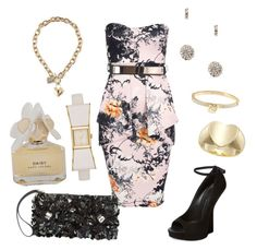 """""""Wedding Guest"""" by mariabatty ❤ liked on Polyvore featuring Giuseppe Zanotti, GUESS, Michael Kors, Kate Spade, Marc by Marc Jacobs and Marni"""