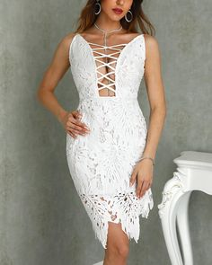 Style:Sexy Pattern Type:Solid Material:Lace,Polyester Neckline:Deep V Neck Sleeve Style:Spaghetti Strap Decoration:Hollow Out Length:Asymmetrical Occasion:Cocktail & Party Package Include:Dress Note: There Women's Fashion Dresses, Sexy Dresses, Casual Dresses, Vip Dress, Buy Dresses Online, Event Dresses, Beautiful Gowns, Lace Dress, White Dress