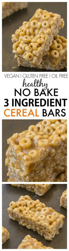 Healthy No Bake 3 Ingredient Cereal Bars- Ready in just FIVE minutes, these no bake snack bars have NO butter, oil, sugar or marshmallows and are SO delicious! {vegan, gluten free, dairy free recipe}- http://thebigmansworld.com