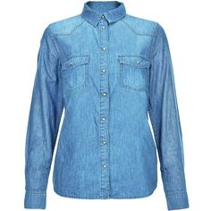 Blue Western Long Sleeve Denim Shirt (€24) ❤ liked on Polyvore featuring tops, western snap shirts, long sleeve denim shirt, long sleeve collared shirt, denim top and cowgirl shirts