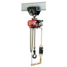Hoist, Air Chain, 550 Lb Cap, 10 Ft Lift by Ingersoll-Rand/Aro. $4183.39. Air Chain Hoist, Heavy Duty, Capacity 550 Lb, Lift 10 Ft, Lift Speed 0 to 82 FPM, Min Between Hooks 17 1/8 In, Number Parts of Chain 1, Adjustable Band Type Brake, Overall Length 8 15/16 In, Overall Width 8 15/16 In, Inlet Size 1/2 In NPT, Air Pressure 90 PSI, Air Consumption 65 to 70 SCFM, Operator Pull Chain Control, Latch Hook Suspension, Manual Trolley, Fits Beam Flange W 3 to 5 1/4 ...