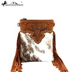 Montana West Genuine Leather Fringe Clutch Messenger