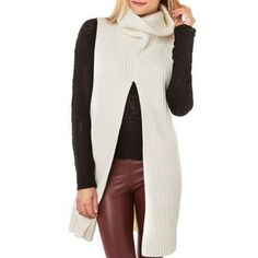 Stylish Slit Design Turtleneck Sleeveless Solid White Sweaters