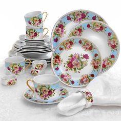Sorelle Romantic Rose 24-piece Porcelain Dinnerware Set at HSN.com.