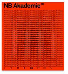 NB Akademie™ Std/Pro, Sneak Preview (2016) by Neubau Berlin