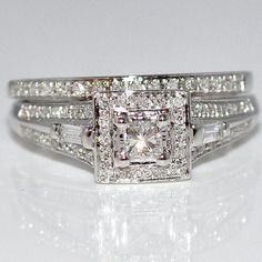 Princess Cut Diamond Bridal Set Wedding 2pc Vintage Inspired Halo White Gold New Rings-MidwestJewellery,http://www.amazon.com/dp/B00AJHT6H2/ref=cm_sw_r_pi_dp_IhtSrb52CDBC4285