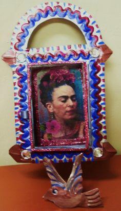 Magenta Frida Kahlo Handpainted Mexican Tin Nicho von nmverde, $35.00