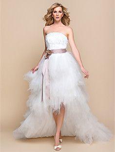 ltbridal uma linha princesa strapless tule assimétrico e rendas do vestido de…