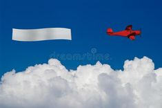 Red plane pulls blank banner above white clouds. Red plane pulls blank banner ov #Sponsored , #PAID, #ad, #plane, #blank, #clouds, #pulls Blank Banner, Watercolor Paper Texture, White Clouds, Plane, Marketing, Illustration, Red, Aircraft, Illustrations