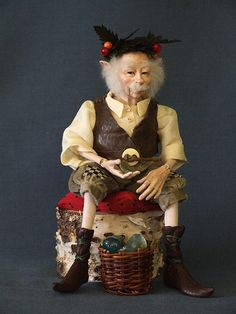 """Natraian, """"Lord of the Ancient Tree,"""" one-of-a-kind elf doll, from the original wax sculpture by Kat Soto."""