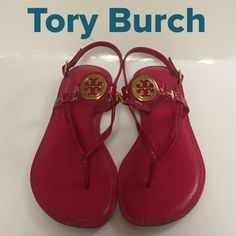 Tory Burch Bright Pink Sandals Great sandals in a beautiful bright pink!!!  Gold tone hardware. Lovingly worn and taken excellent care of. No flaws just a little worn on bottom not bad. Sorry no box. ❇️ FIRM ❇️ Tory Burch Shoes Sandals