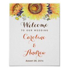 Elegant Classy Sunflowers Welcome Wedding Sign