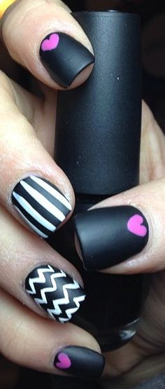 Black Nail Art With Pink Hearts