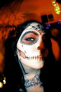 great makeup for Dia de los Muertos, Day of the Dead, Halloween costume