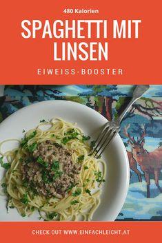 Spaghetti mit Linsen und Milch. Ein Eiweiß-Booster! Pesto Pasta, Spaghetti, Beef, Chicken, Ethnic Recipes, Winter, Food, Gnocchi, Easy Meals
