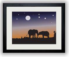Africa Art Africa Print African Night Landscape Print Elephant Elephants Print Art Print Wall Decor Modern Minimalist