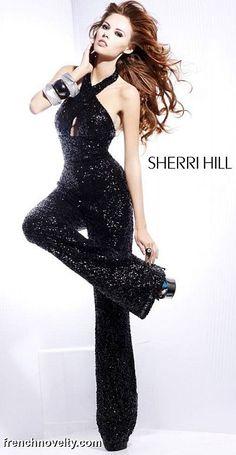 Sherri Hill 8450 Black Sequin Jumpsuit